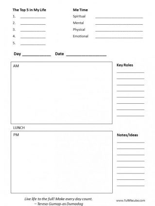 full life cube planner diary daily planning page downloadable